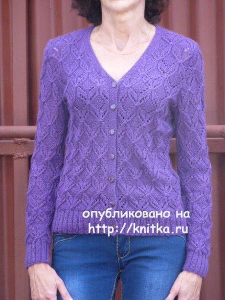 Фиолетовый жакет спицами. Работа Марины Ефименко. Вязание спицами.