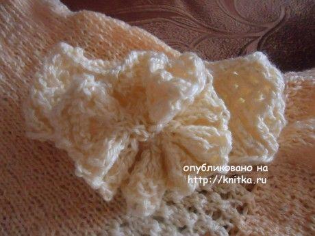 Платье, пинетки и повязка спицами. Работы Валерии вязание и схемы вязания