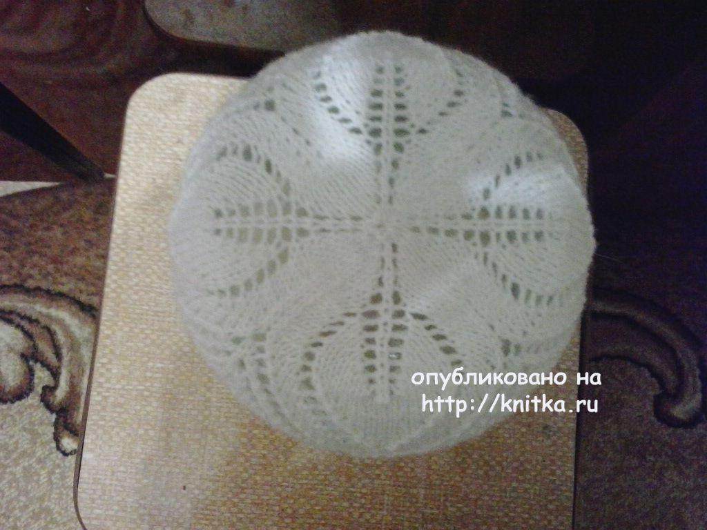 Ажурная шапочка спицами на лето со схемой и описанием