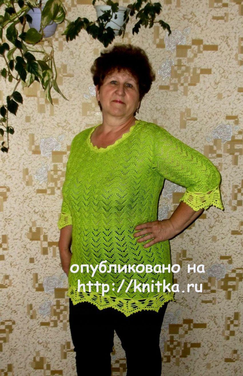 Теплая туника спицами – работа Оксаны