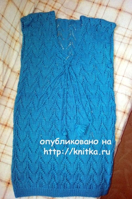 Вязаная спицами туника. Работа Валентины вязание и схемы вязания