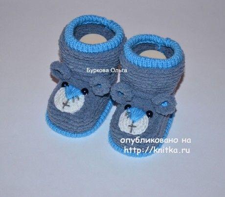 Вязаные спицами пинетки. Работы Бурковой Ольги вязание и схемы вязания