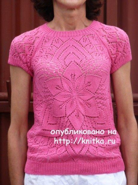 Вязаный спицами топ от центра. Работа Марины Ефименко. Вязание спицами.