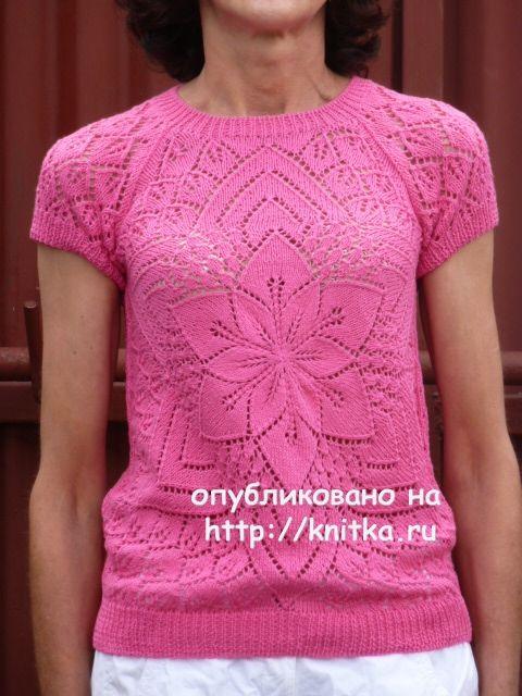 вязаный спицами топ от центра работа марины ефименко вязание для