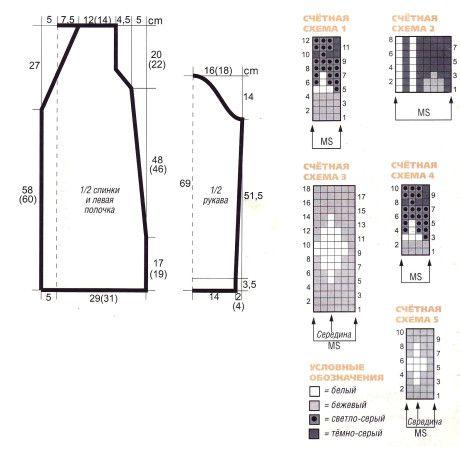 Выкройка и схемы вязания жакета: