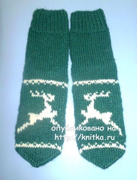 Носки с оленями. Работа Любови вязание и схемы вязания