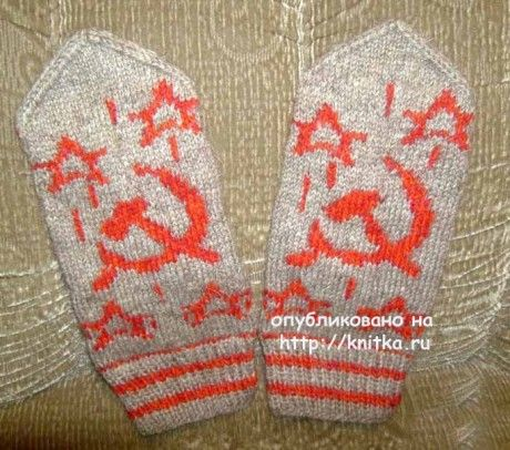 Варежки Патриотичные. Работа Любови вязание и схемы вязания