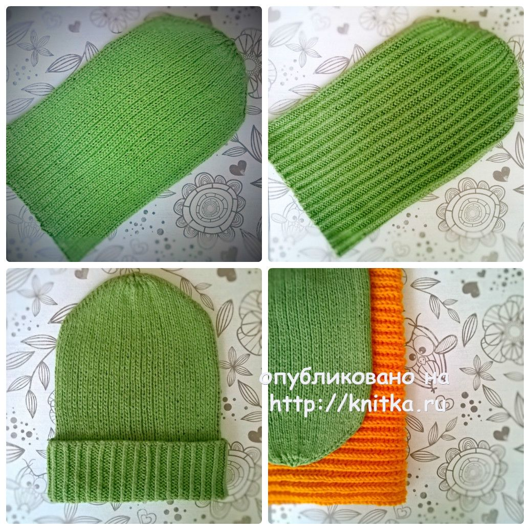 вязаная шапка бини спицами работа Anya вязание для детей