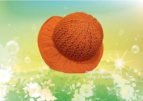 Вязаная спицами шляпа. Работа Елены вязание и схемы вязания