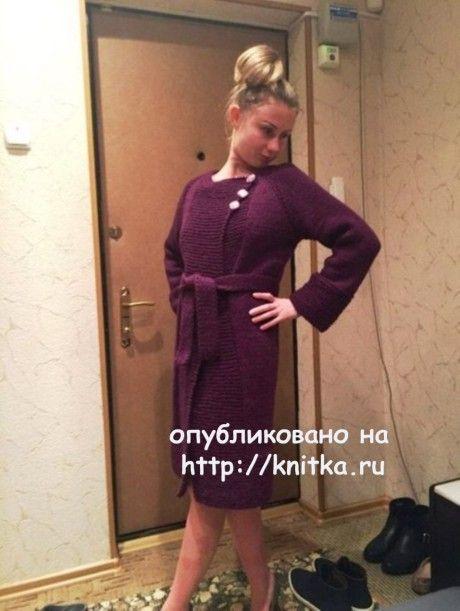 Вязаное пальто. Работа Натальи вязание и схемы вязания