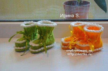 Вязаные спицами пинетки. Работы Ирины Стильник вязание и схемы вязания