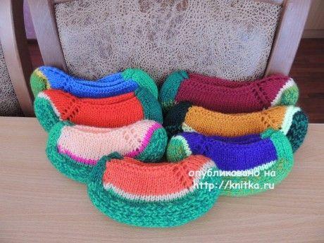 Вязаные тапочки спицами. Работы Lana вязание и схемы вязания