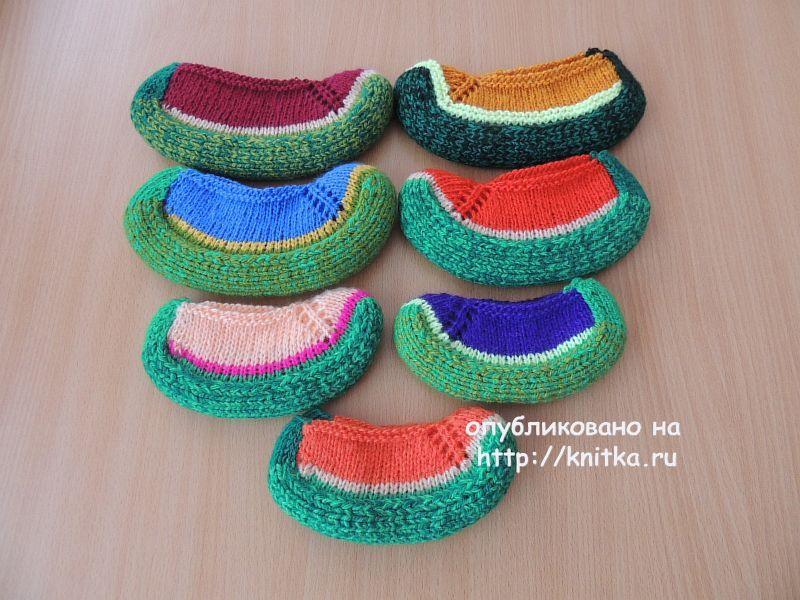 вязаные тапочки спицами работы Lana вязание для детей