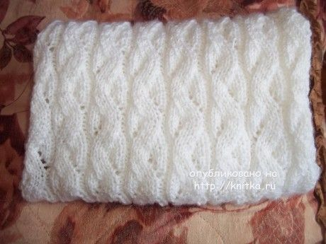 Вязаный спицами снуд. Работа Юлии вязание и схемы вязания