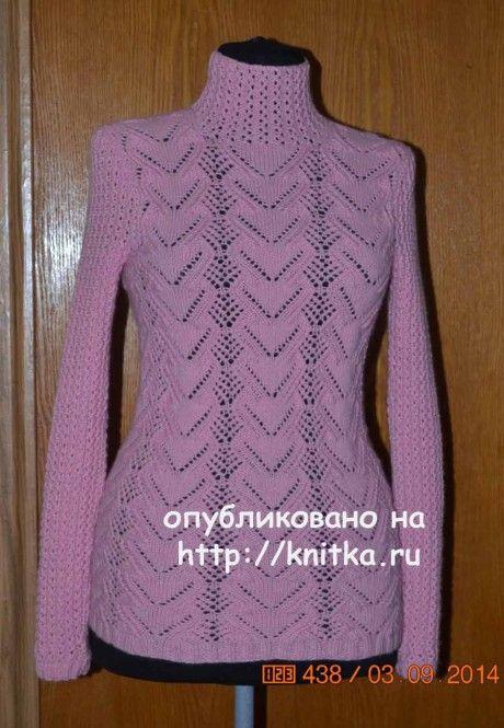 Ажурная кофточка. Работа Анастасии Поповой вязание и схемы вязания