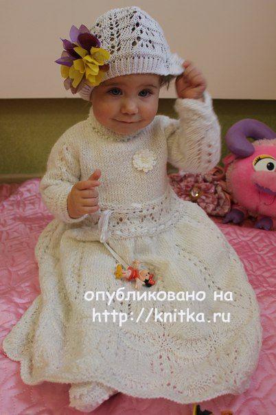 Крестильное платье спицами. Автор Любовь Афанасьева вязание и схемы вязания
