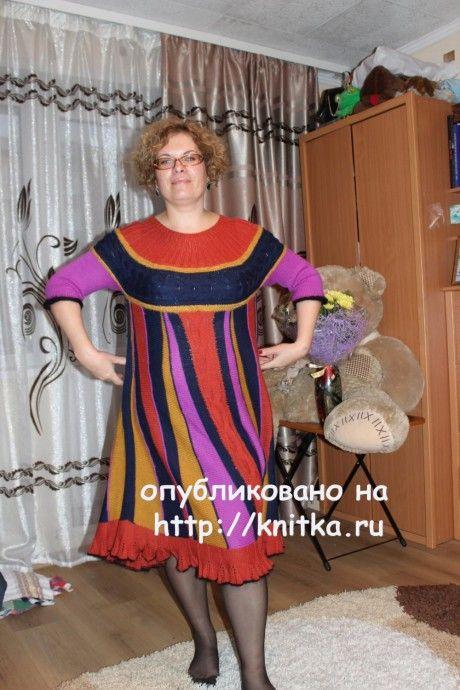 Вязаное спицами платье. Работа Цвикевич Светланы вязание и схемы вязания