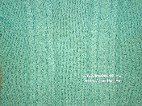 Вязаный спицами свитер. Работа Лилии вязание и схемы вязания