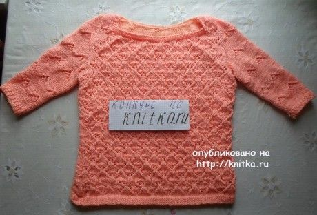 Женская кофта спицами. Работа Абишевой Гульжан вязание и схемы вязания