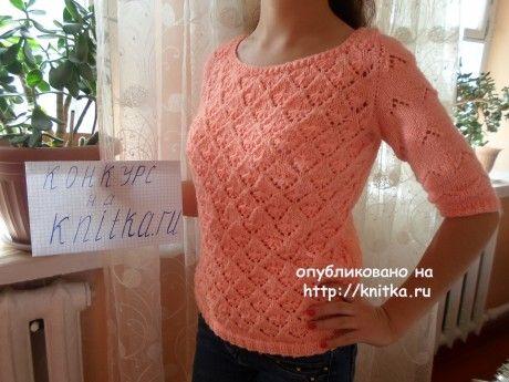 Женская кофта спицами. Работа Абишевой Гульжан. Вязание спицами.