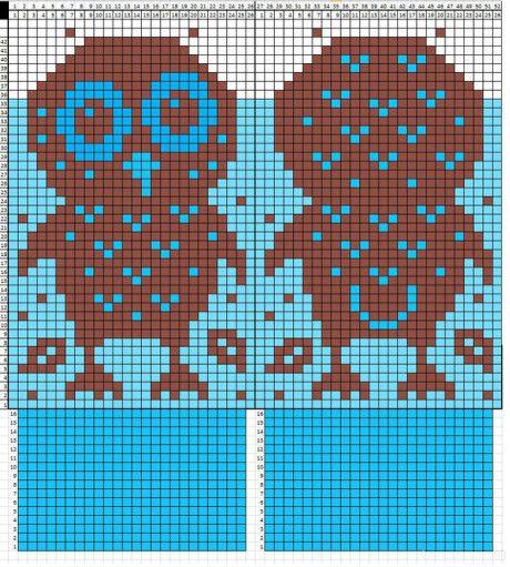 Схема вязания совы: