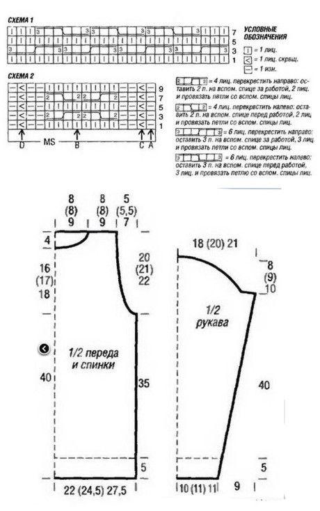 Выкройка и схемы вязания свитера: