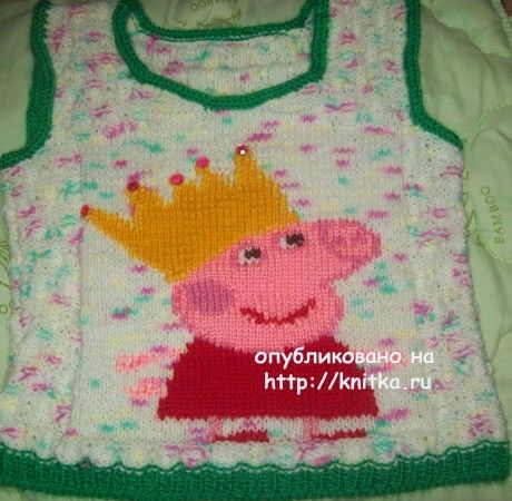 Безрукавка со Свинкой Пеппой. Работа Елены. Вязание спицами. 0n