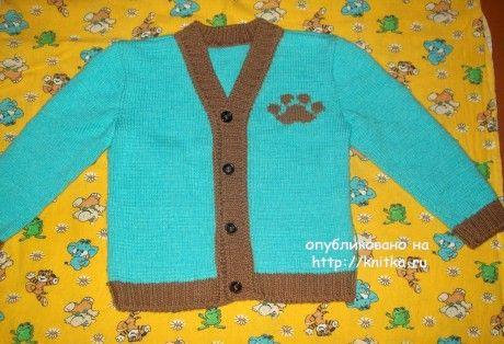 Кофточка для мальчика. Работа Елены вязание и схемы вязания