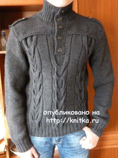 Мужской джемпер спицами. Работа Марины Ефименко. Вязание спицами.