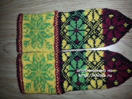 Носки с узором цветок. Работа Фариды вязание и схемы вязания