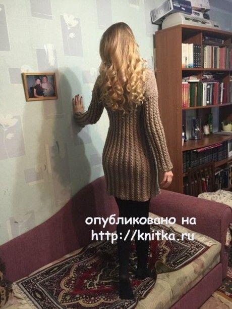 Платье спицами. Работа Натальи вязание и схемы вязания