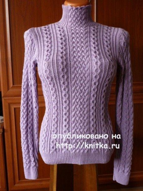 Свитер - водолазка спицами. Работа Марины вязание и схемы вязания