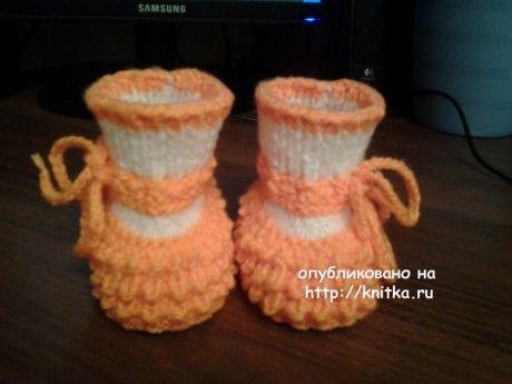 Вязаные детские пинетки. Работы Риммы вязание и схемы вязания