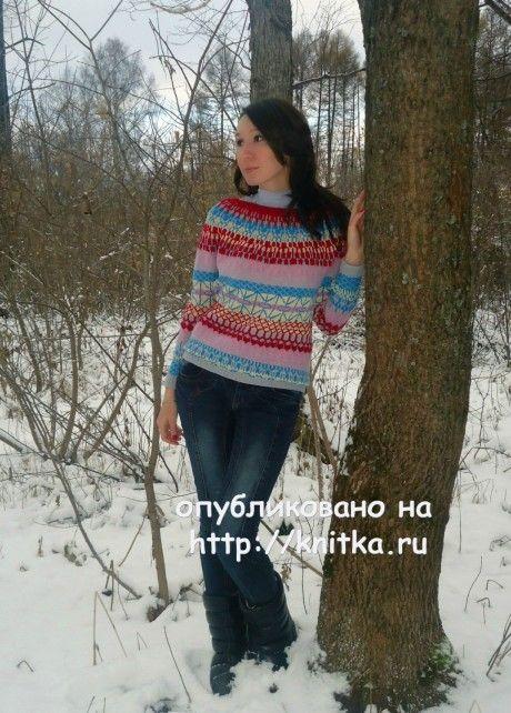 Жаккардовый свитер. Работа Лилии вязание и схемы вязания