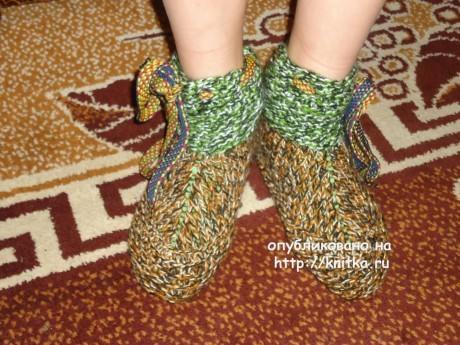 Сапожки для дома. Работа Валерии вязание и схемы вязания