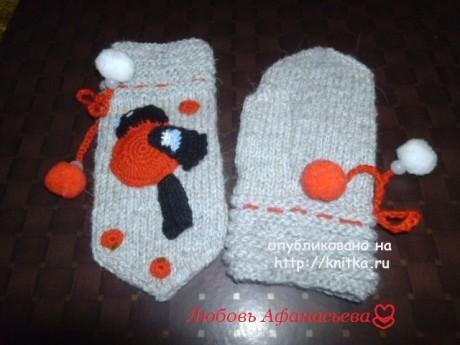 Варежки Снегири. Работа Любови Афанасьевой вязание и схемы вязания