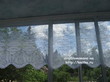 Вязаная занавеска спицами. Работа Альбины вязание и схемы вязания
