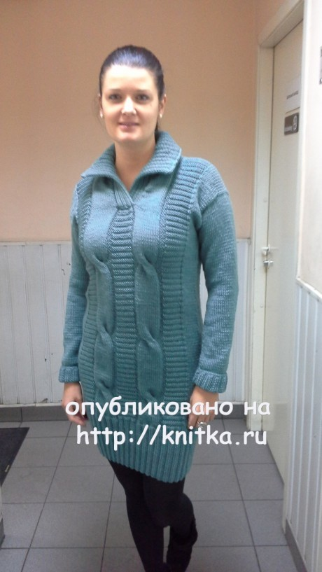 Вязаная женскай туника. Работа Ольги Ярославской. Вязание спицами.
