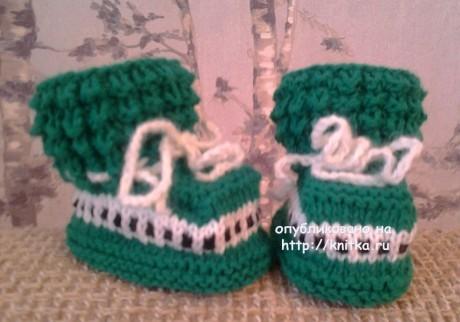Вязаные пинетки для малышей. Работы Риммы вязание и схемы вязания