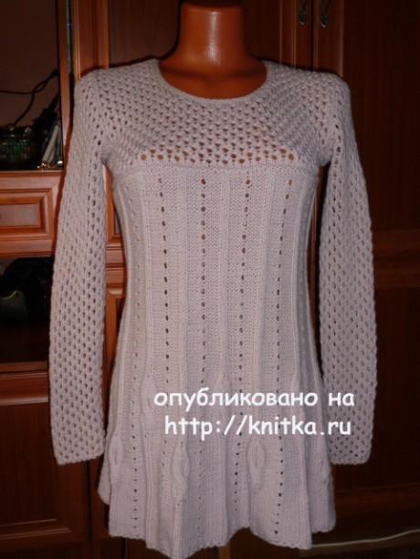 Женская туника спицами. Работа Марины Ефименко. Вязание спицами.