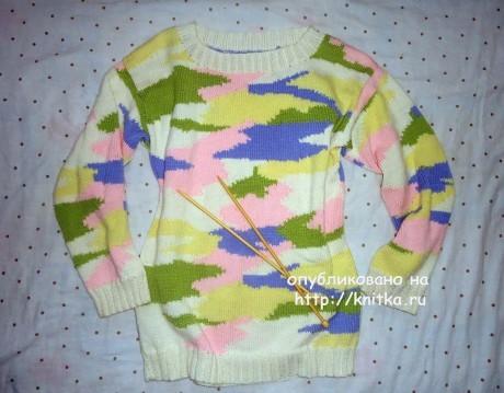 Женский свитер oversize. Работа Лилии вязание и схемы вязания