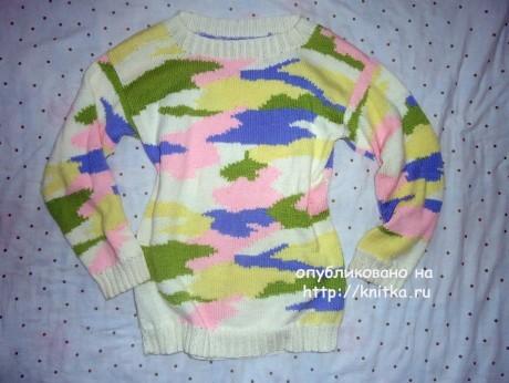 Женский свитер oversize (интарсия). Работа Лилии. Вязание спицами.