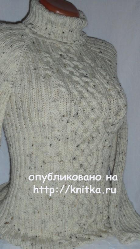 Женский свитер спицами. Работа Веры вязание и схемы вязания