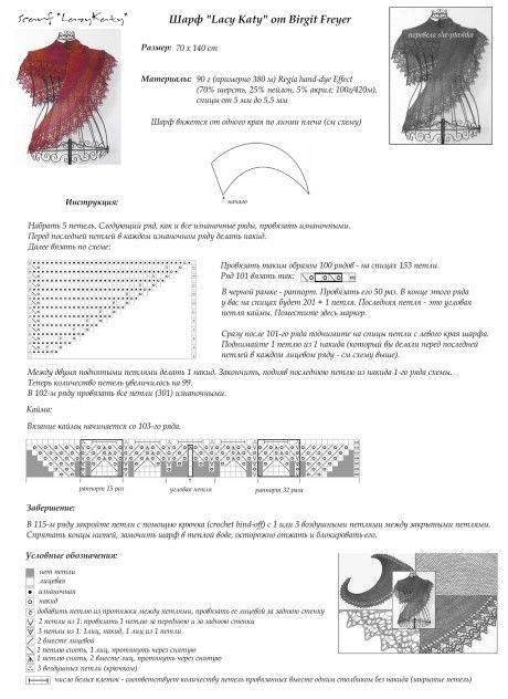 Схемы вязания и описание шали: