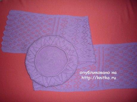 Ажурный берет и шарфик спицами вязание и схемы вязания