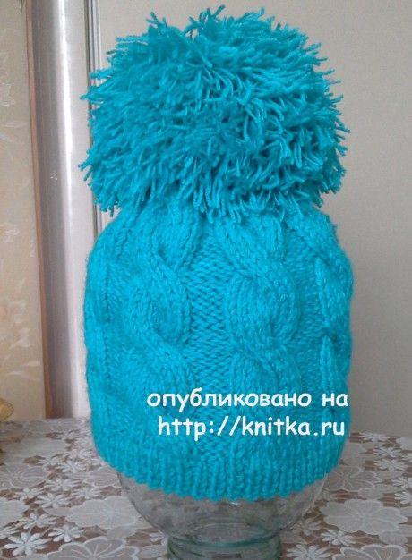 Шапочка спицами. Работа Ольги Ярославской вязание и схемы вязания
