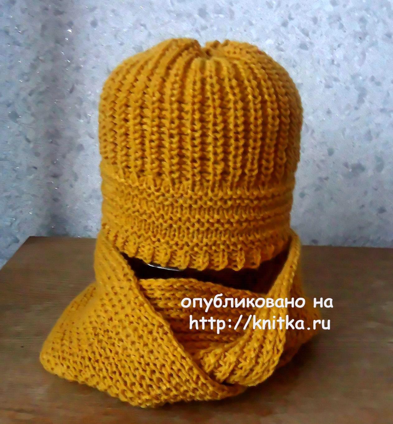 Шапочка и шарф спицами. Работы Ольги