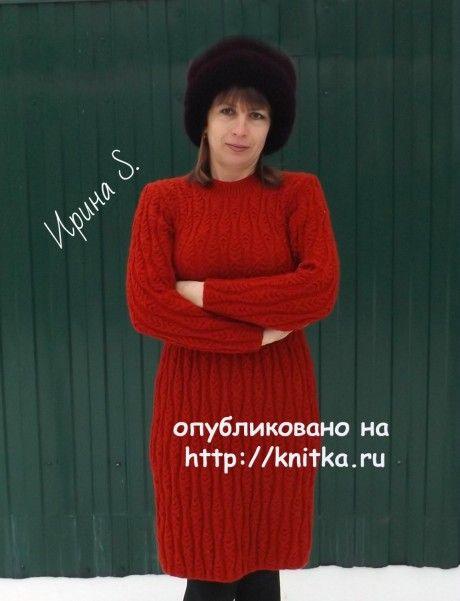 Вязаное спицами платье. Работа Ирины Стильник вязание и схемы вязания