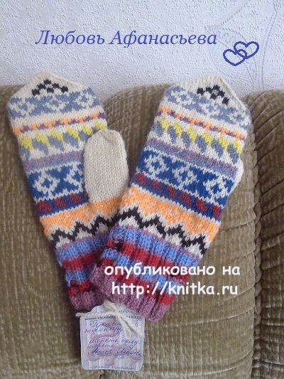 Жаккардовые варежки спицами. Работа Любови вязание и схемы вязания