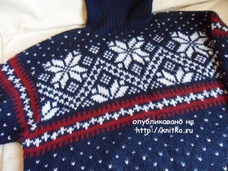 Мужской свитер спицами с норвежскими узорами